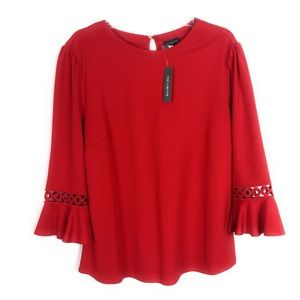 The Limited Red Ruffle Sleeve Circle Blouse NWT XL